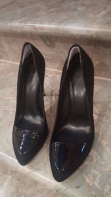 "Zoe Wittner Sz 41 Womens ""Design"" Black Suede Patent Leather Silver Heels Shoes"