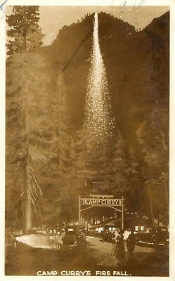 RPPC - Camp Curry's Fire Fall in Camp Curry CA 1943