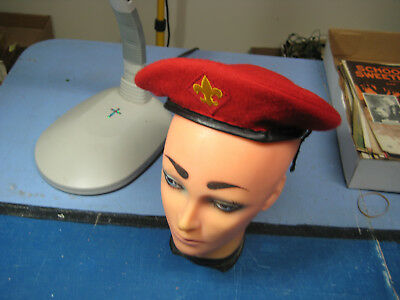 100% Wool Boy Scout Red Beret Hat, Medium Size, Great Condition!
