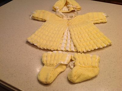 Mid Century Handmade Two Tone Gorgeous Baby Outfit Yellow and White 4 Pieces!