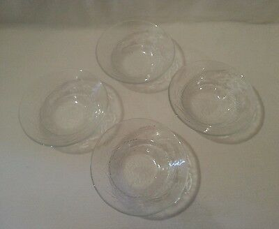 4 Arcoroc Clear Glass Bowl France Christmas Tree Holly Cereal Salad
