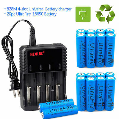 Lot UltraFire 18650 Battery 3000mAh Li-ion 3.7V  Batteries +US Charger For Torch