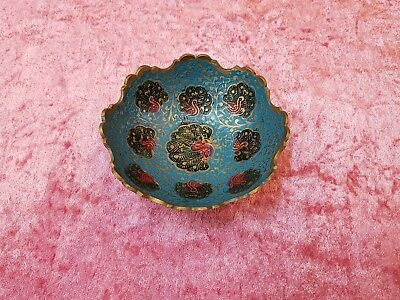 Bowl.brass Hand Painted Turqoise Color