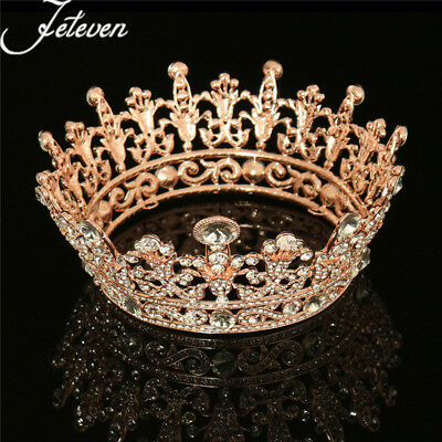 Rose Gold Plated Clear Round Crystal Rhinestone Full Tiaras Crown Wedding Party