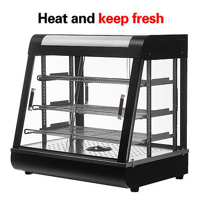 "Food Court Restaurant Heated Food Pizza Display Warmer Cabinet Case 26"" Glass"