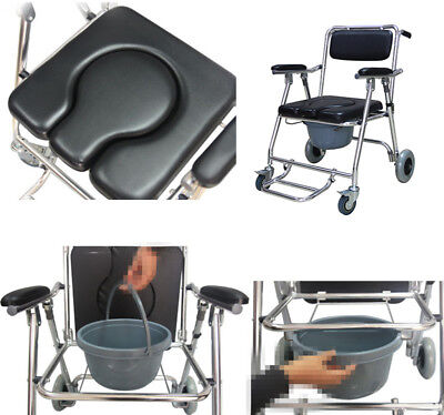 USA Commode Wheelchair Bedside Toilet & Shower Bathroom Rolling Chair Detachable