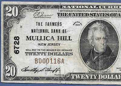 Nj  1929  $20  ♚♚Mullica Hill, New Jersey♚♚  Very Hard To Find