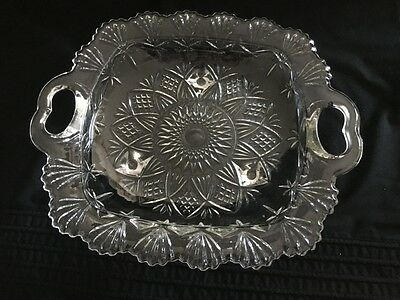 Vintage Embossed Glass Square 3 Footed Serving Dish 23cms Square With Handles