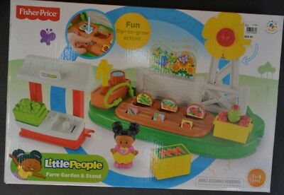 Fisher Price Little People Farm Garden and stand BNIB +fig collectible
