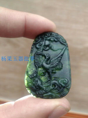 Chinese nature black green jade Jadeite pendant necklace hand-carved phoenix