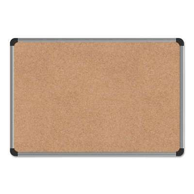 Universal® Cork Board with Aluminum Frame, 24 x 18, Natural, Silv 087547437124