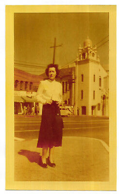 Antique Vintage 40s PHOTO Woman w/ Glasses & Purse On Street w/ Old Buildings