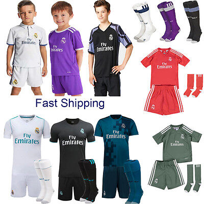 2018 Football Kid Boy Soccer Short Sleeve Kit Jersey Shirt 3-14Y Team Suit+Socks