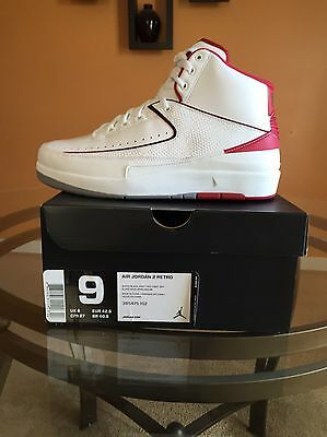 41bb87e9d017c2 Nike Air Jordan 2 II Retro Chicago Bulls White Varsity Red Size 9 ( 385475-