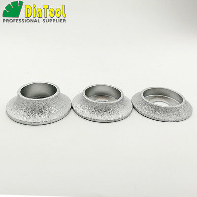 DIATOOL Vacuum Brazed Diamond Grinding Wheel Demi-Bullnose Edge Profile Dia 75mm