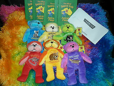 Beanie Kids 2003 State Redemption Bears Opal Vic Swanny Troppo Syd and Tassy