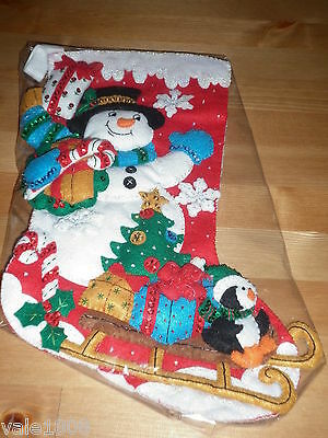 Bucilla Completed Christmas Stocking Snowman & Penguin