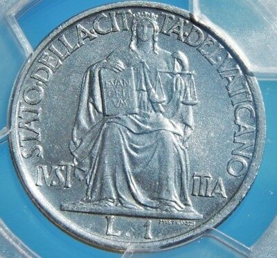Vatican City 1942 1 Lira PCGS MS-66 Nice WWII Steel Coin Great Easter Gift!