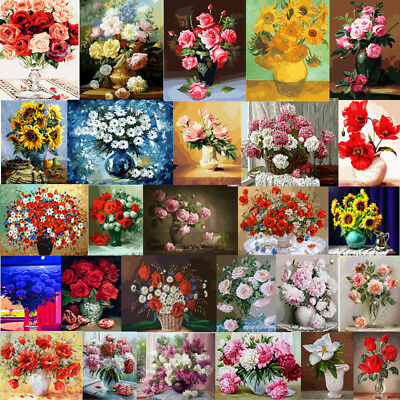 45X50cm Beautiful Flowers Paint By Number Kit DIY Acrylic Oil Painting DIY Decor