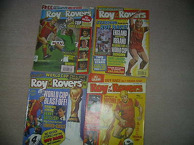 ROY of the ROVERS comic x 4 June 1990 + world cup pull chart 1&2