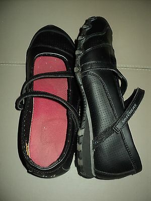 Black Leather Upper Skechers Mary Jane Flat Work Shoes  Slip Resistant Sole Sz 8