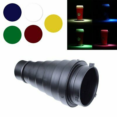 Studio Metal Snoot + Honeycomb Grid + 5 Color Gel Filter for Bowens Strobe Flash