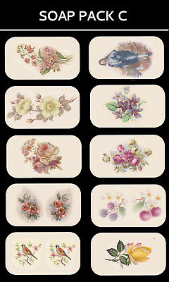 SOAP PACK 'C' Ceramic decals Decoupage Assorted designs to fit soaps Gift making
