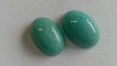 AMAZONITH CABOCHON PAAR, 14x10mm oval, 11ct.