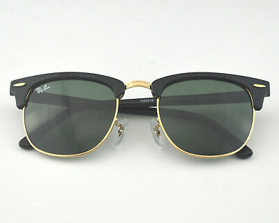 95a03e55f31d2 RayBan RB3016 Clubmaster Classic W0365 Black Frame Green Classic G-15 51mm