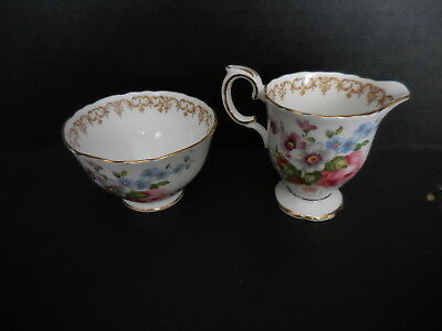 England's Bouquet Mini Creamer & Open Sugar Footed- Crown Staffordshire England