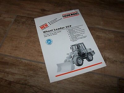 Prospectus / Brochure Pelleteuse HANOMAG Wheel Loader 20F 1993 //