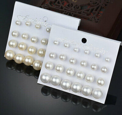 12 pairs/set Simulated Pearl Earrings For Women Jewelry Bijoux Fashion Stud Earr