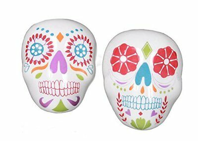 Sugar Skull Day of the Dead Salt and Pepper Shakers Set Ceramic