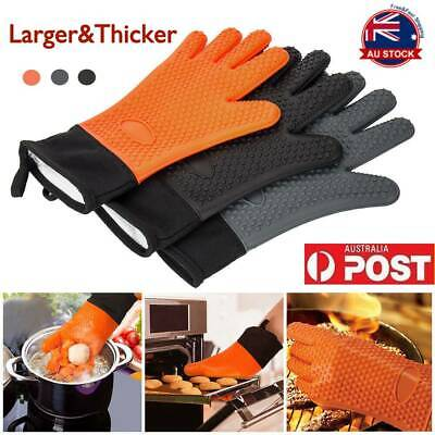 2X Gloves Heat Resistant Silicone Gloves Kitchen BBQ Oven Cooking Mitts Gloves
