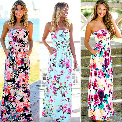 AU Women's Holiday Strapless Bandeau Long Maxi Dress Floral Party Beach Sundress