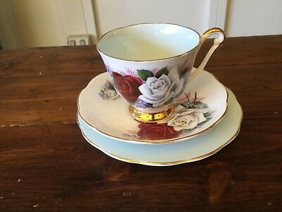 Vintage Queen Anne Trio. Light Blue Cup, Saucer and Plate. Harlequin (2)