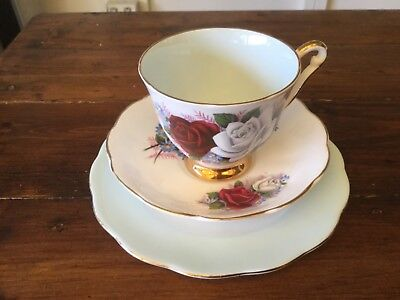 Vintage Queen Anne Trio. Light Blue Cup, Saucer and Plate. Harlequin (3)