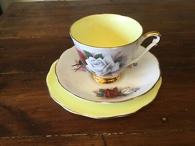 Vintage Queen Anne Trio. Yellow Cup, Saucer and Plate. Harlequin (4)