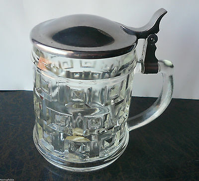 Vintage GENUINE CRYSTAL AND SILVERPLATE Covered Mug by Leonard ITALY