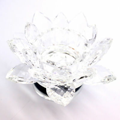 130mm crystal cut lotus flower candle holder ornament gift box clear 130mm crystal cut lotus flower candle holder ornament gift box clear colour uk mightylinksfo