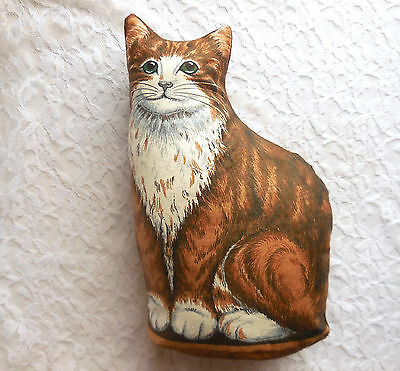 Cat Pillow NEW Brown Vintage Style Country Farm Shaped Body Sitting Decor Kitten