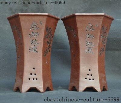 old China Yixing Zisha pottery flower Text willow flower pot Bonsai Potted pots