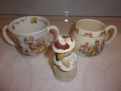 3 Pcs Royal Doulton 1 Mrs Apple Barklam 1 Bunnykins Childs Cup 1 Pooh Hug A Mug