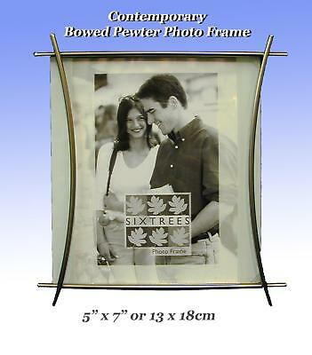 "Modern Bowed Pewter Photo Frame 7x5"" .Free Standing or Hang on the Wall."