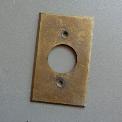 Vintage Brass Round Outlet Cover Plate Tarnished Solid Brass #6