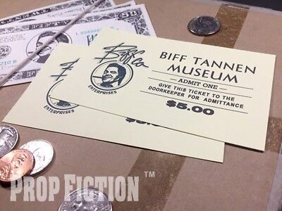 Back to the Future II - BTTF Pair of Movie Prop Biff Tannen Museum Entry Tickets