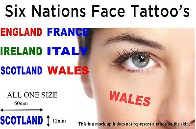 Six Nations Rugby Face Tattoo x 4 Freepost UK