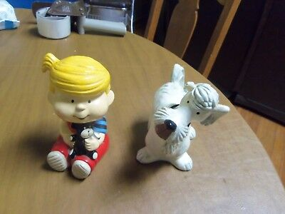 Vintage 1974 Dennis the Menace & Ruff Dog Bookends/Figures - NEAT!
