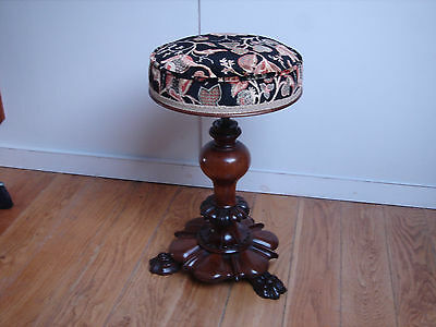 Antique Will IV c1830 Rosewood adjustable revolving Piano/Dressing stool perfect