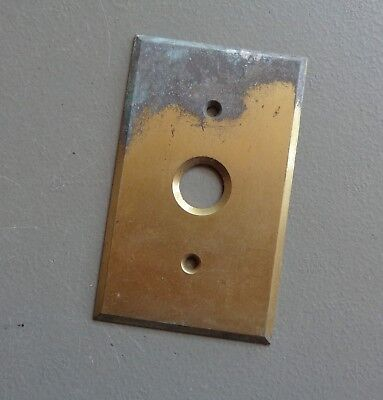 Vintage Push Button Brass Cover Plate Tarnished Solid Brass Made in USA #88